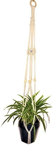 Macrame Plant Hangers Indoor Outdoor Holder for Succulent Flowers Air Plants Small Large Potted Wall Decorative Hanger Basket Cotton Rope with Beads No Tassel
