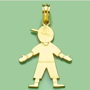 - 14k Yellow Gold Sports Charm Pendant, Boy With Baseball Cap