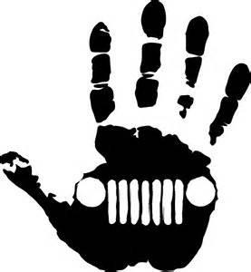 Jeep wave hand sticker vinyl decals Jeep wrangler cj jk wj all 2 pair (5 x 4.74, white)