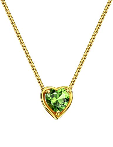 - Mints 18K Gold Plated Silver Birthstone Pendant Necklace Peridot August Gemstone Heart Shape Fine Jewelry for Women