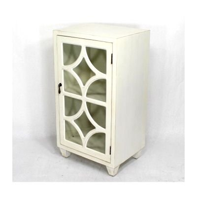 Heather Ann Creations Free Standing Single Drawer Distressed Cabinet with Semi Circle Cross Glass Window Inserts, 30