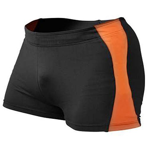 MUSCLE ALIVE Mens Bodybuilding Shorts Tights Polyester and Spandex Size M Plain Black with Orange (Best Shorts For Squats)