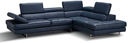 A761 Italian Leather Right Facing Sectional Sofa