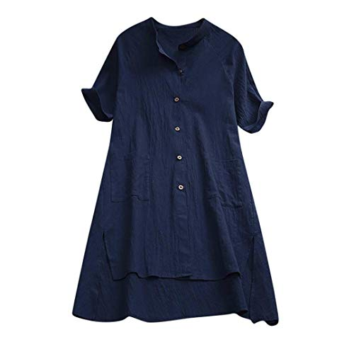Sunnywill Camicetta per le donne, i bottoni femminili della camicia della maglietta delle camicette della cima della camicia di cotone asimmetrica asimmetrica Marina Militare