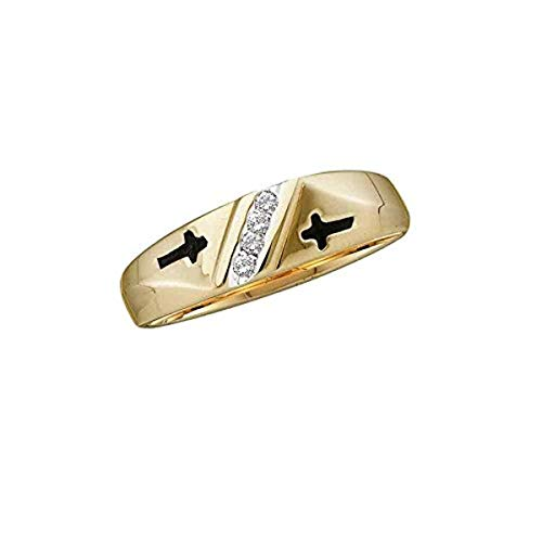 Roy Rose Jewelry 10K Yellow Gold Mens Round Diamond Single Row Cross Wedding Band 1/20-Carat tw