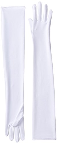 Long White Polyester Gloves (Be Wicked Women's Long Gloves, White, 57cm)