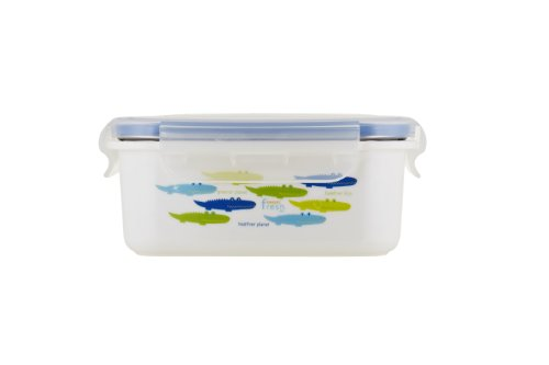 Innobaby Keepin Fresh Stainless Bento Snack or Lunch Box with Lid for Kids and Toddlers 15 oz, BPA Free Food Storage, Blue Alligator