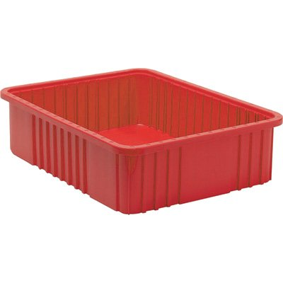 (Quantum Storage Dividable Grid Container - 3-Pack, 22 1/2in.L x 17 1/2in.W x 6in.H, Red, Model# DG93060RD)