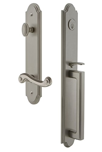Grandeur 846965 Hardware Arc One-Piece Handleset with D Grip and Newport Lever Size, Single Cylinder Lock-2.375
