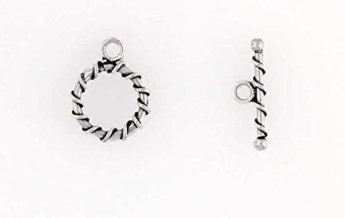 (Sterling Silver Spiral Wrapped Toggle Clasp)
