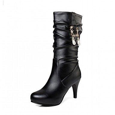 Stivali Perla Similpelle Scarpe Comfort EU35 Heel Novità Toe Mid Per Round UK3 Stiletto Inverno Donna Stivali Stivali Calf Autunno US5 RTRY Moda Pu CN34 Imitazione qzHnBtt