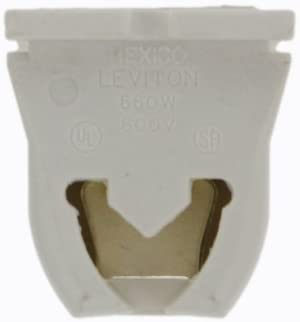 Leviton 13651-20 Linear Fluorescent Lampholder, Medium Bi-Pin, for T8 Lamps, with 20 Gauge Mounting Slots,Turn Type