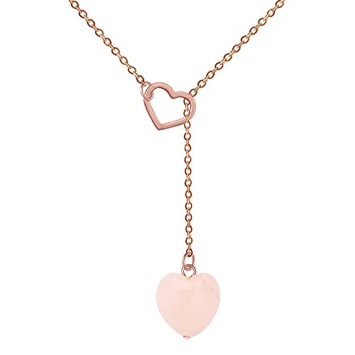 (Heart Shaped Semi-Precious Stones Pink Crystal Hematite Y Necklace for Women, 18 + 2 inches (Pink Rose Gold))