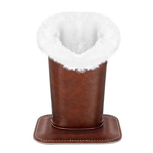 (MoKo Eyeglasses Holder, Modern Velvet Plush Lined PU Leather Household Magnetic Holder Protective [Anti-scratch] [Dustproof] Stand Case for Eyeglass and Sunglasses, Brown)