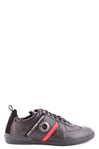 COSTUME NATIONAL MEN'S MCBI074055O BLACK LEATHER SNEAKERS