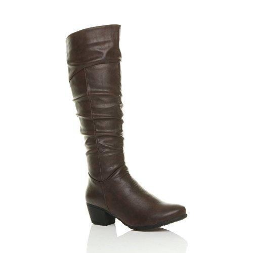 Ajvani Womens Ladies Cuban mid Heel Zip Ruched Slim Calf Cowboy Riding Knee Boots Size Brown Matte 1qIHIzaj