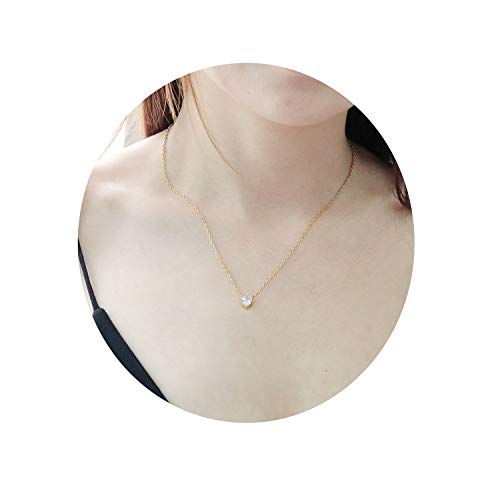 Eivanc Heart Layered Metal Choker Necklace Handmade 18K Gold Zircon Gold Delicate Heart and Bar Bead Necklace Chokers Necklace ()
