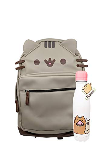 Pusheen PU Vegan Leather Backpack and Pusheen and Stormy Stainless Steel Vacuum Water Bottle