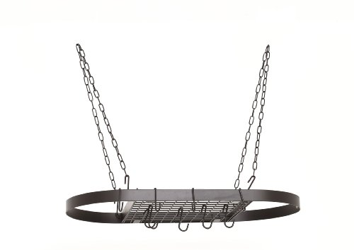 Old Dutch 12 Hooks/Chain Hanging Pot Rack, 32-1/2 by 17-Inch, Matte Black