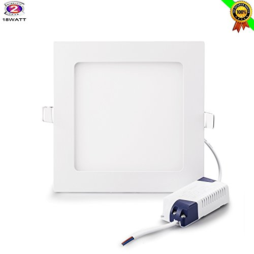 18W Flat LED Panel Light, Gianor Ultra-Thin Non-Dimmable Square LED Recessed Panel Light Day White(6000K)Back Hole Size,205MM for Home/Office/Commercial Lighting(AC85-265V)