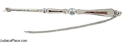 Judaica-Art-Yad-Silver-Plated-Torah-Pointer-with-Stones-and-Chain