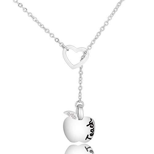 (KUIYAI Teach Inspired Apple Pendant Y Necklace Open Heart Teacher Necklace (Apple Heart Y Necklace) )