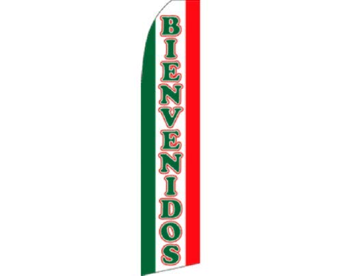 - ALBATROS Bienvenidos Red Green White Swooper Super Feather Advertising Flag for Home and Parades, Official Party, All Weather Indoors Outdoors