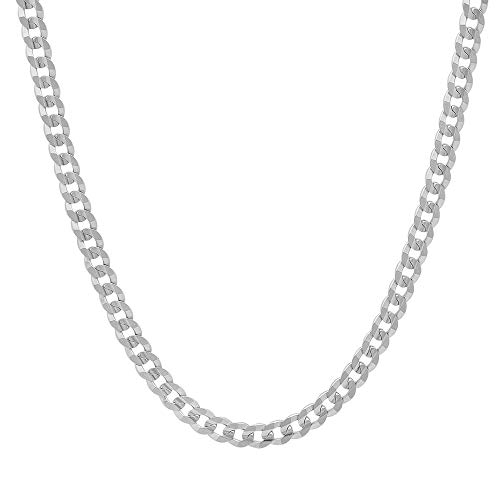 Verona Jewelers 3MM, 3.5MM Italian 925 Sterling Silver Classic Curb Cuban Chain for Men Women (22, 3.5MM)
