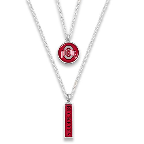 FTH Ohio State Buckeyes Silver Tone Double Charm Necklace with Round Logo Charm and Nameplate Charm Necklaces