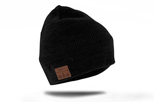 Tenergy Wireless Bluetooth 4.1 Hands-Free Beanie Basic Knit with Speakers and Microphone (Black)