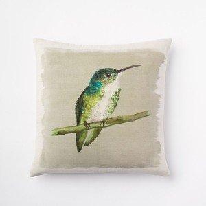 Lfarncomboutlet West Elm Emerald Hummingbird Silk Pillow Cover  18X18 Inches