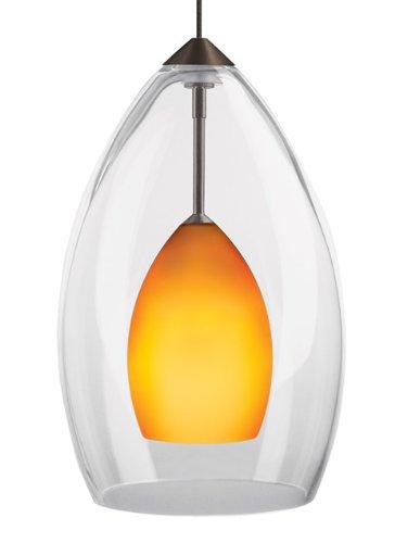 (Inner Fire 1 Light FreeJack Mono-point Pendant Finish: Antique Bronze, Color: Amber)
