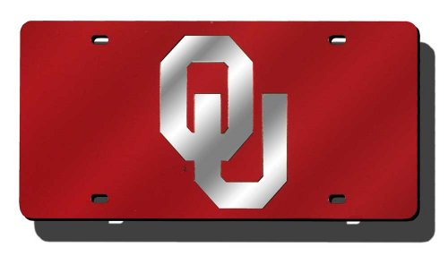 NCAA Oklahoma Sooners Laser Inlaid Metal License Plate Tag