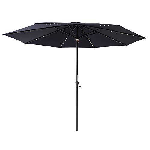 FLAME&SHADE 11' LED Outdoor Patio Market Umbrella with Solar Lights for Large Deck Table Outside Terrace or Pool, Navy Blue ()