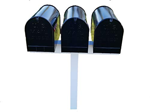 Triple Mailbox Post - Handy Post for 3 XL Mailboxes, 42-in x 40-in, White, Vinyl Sleeve