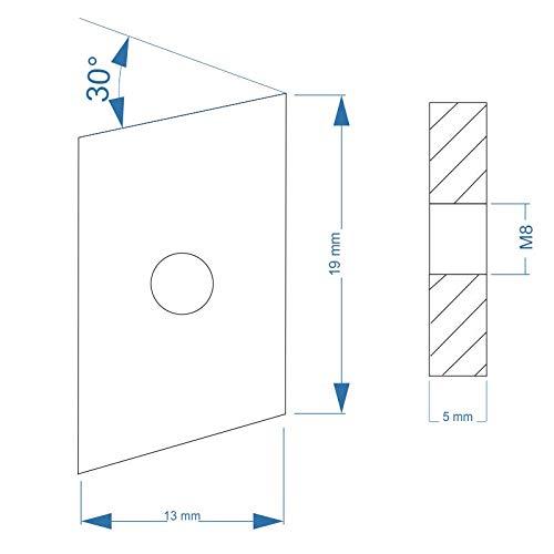 Nutenstein Stahl verzinkt Gewindeplatte Rhombus 19x13x5 mm M8 Gewinde Winkel 30/°