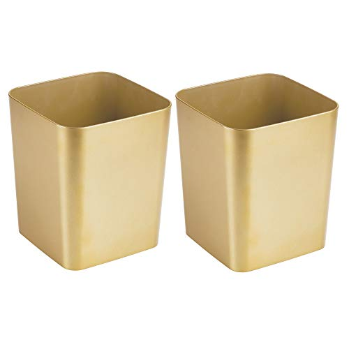 mDesign Square Shatter-Resistant Plastic Small Trash Can Wastebasket, Garbage Container Bin for Bathrooms, Powder Rooms, Kitchens, Home Offices - 2 Pack - Soft Brass Finish