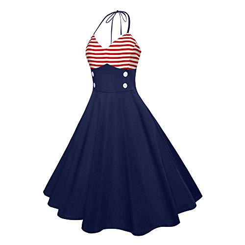 Fainosmny Womens Dress Sexy Halter Tunic Dress American Flag Dress Summer Sleeveless Maxi Dress V Neck Prom Swing Dress - Sale On Jumper Halter