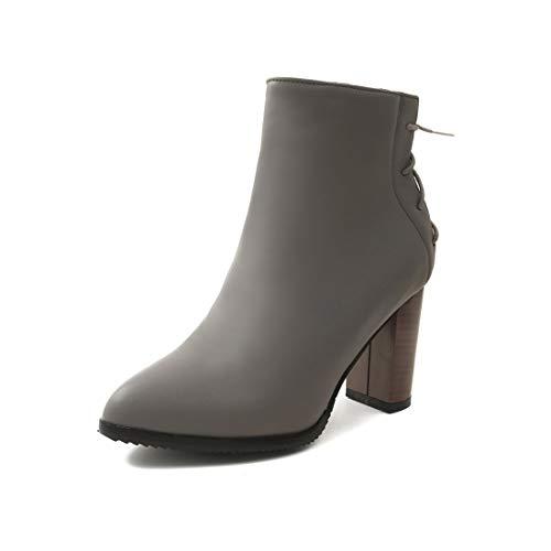 DEDE Mujer tacón Botas Sandalette Zapatos Puntiagudas gray Botas Las Mujer Botas de bajo Tubo Alto para de de Botas Moda de dvxCqB