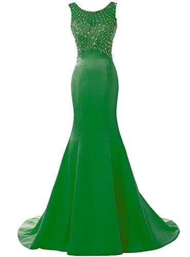 SOLOVEDRESS Women's Long Mermaid Prom Dress Beaded Evening Gowns Wedding Dress Bridesmaid(US 8,Green)