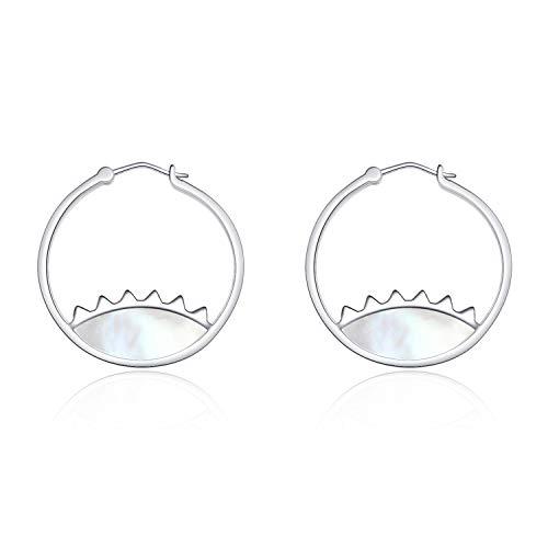 (LUHE Small Sterling Silver Hoop Earrings for Women, Hypoallergenic Evil Eye Dangle Earrins for Sensitive Ears)