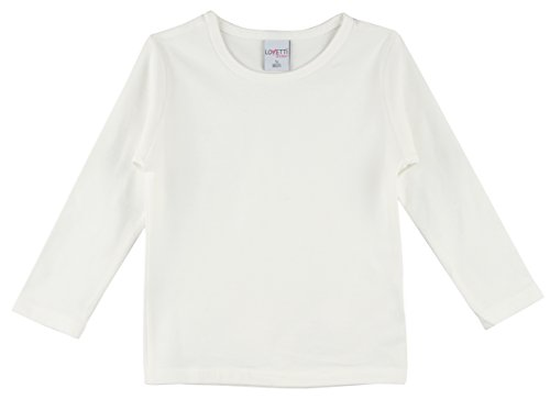 Lovetti Girls' Basic Long Sleeve Round Neck T-Shirt 12 Cream