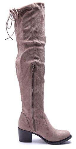 Schuhtempel24 Damen Schuhe Overknee Stiefel Stiefeletten Boots Blockabsatz Zierschleife 6 cm Khaki