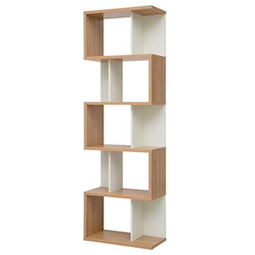 HM&DX Wood Bookcase Cabinets Bookshelf Storage Organizer Furniture Decorations Display Rack for Home Office-A 5-Shelf
