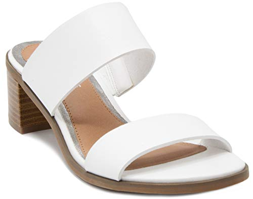 Rampage Women's Hatty Heeled Two Band Slide Sandal 9.5 White -