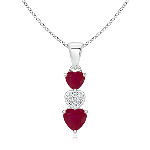 - Dangling Ruby and Diamond Triple Heart Pendant in Silver (5mm Ruby)
