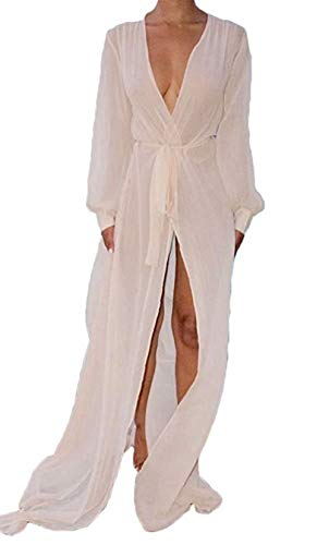 Women's Sexy Sheer Mesh Belted Solid Long Sleeve Cover Up Kimono Cardigan Size S -