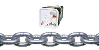 Campbell 0143636 System 3 Grade 30 Low Carbon Steel Proof Coil Chain in Square Pail, Hot Galvanized, 3/8