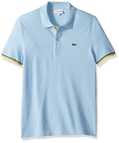 Lacoste Men's S/S 2 PLY Pique Slim FIT Striped Bottom Sleeve Polo, Creek, XX-Large