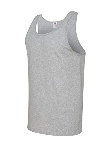 Jersey Tank Ribbed Grey Tank Top - Fruit of the Loom Adult 5 oz. HD CottonÖ Tank-Athletic Heather-L